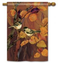 Autumn Chickadees Large Standard Flag