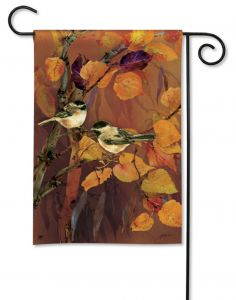 Autumn Chickadees Small Garden Flag