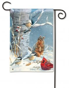 Snowy Party Small Garden Flag
