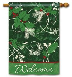 Holly Welcome Large Standard Flag