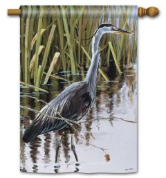 Blue Heron Large Standard Flag