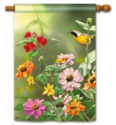 Yellowthroat in Garden Large Standard Flag