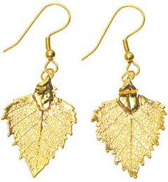 Birch Leaf Gold Earrings