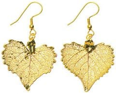 Cottonwood Leaf Gold Earrings