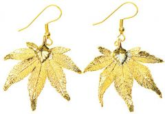 Japanese Maple Leaf Gold Earrings