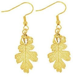 Oak Leaf Gold Earrings