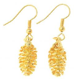 Pine Cone Gold Earrings
