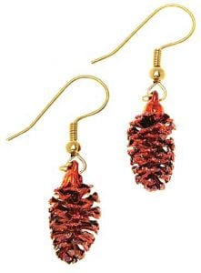 Pine Cone Copper Earrings