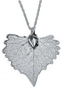 Cottonwood Leaf Silver Necklace