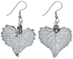 Cottonwood Leaf Silver Earrings