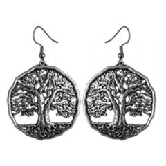 Pewter World Tree Earrings