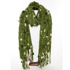 Thai Accented Scarf (Olive, Brown, And Crème)