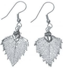 Birch Leaf Silver Earrings