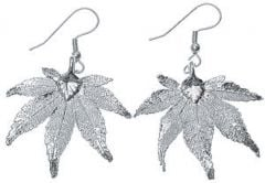 Japanese Maple Leaf Silver Earrings