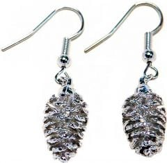 Pine Cone Silver Earrings