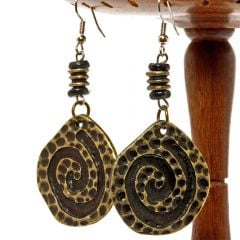 African Cheetah Tail Swirl Earrings