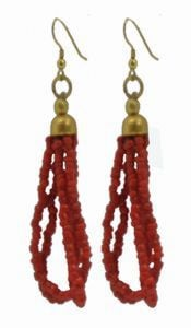 Tibetan Naga Tribal Earrings (Red)