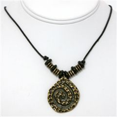 African Cheetah Tail Swirl Necklace