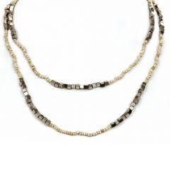 Bali Beaded Necklace (Creme)