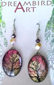 Sunset Glass Pendant Earrings