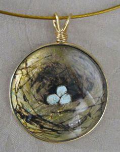 Bird Nest Glass Pendant Necklace