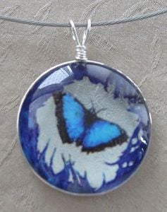 Butterfly Glass Pendant Necklace