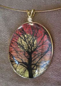 Sunset Glass Pendant Necklace
