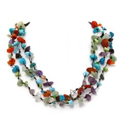 Indian Three-Strand Mosaic Bead Necklace