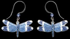 Blue-Banded Dragonfly Earrings (Dangle)