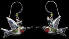 Ruby-Throated Hummingbird Earrings (Dangle)