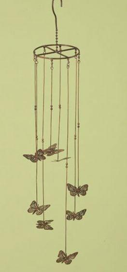 Butterfly Flamed Copper Garden Mobile.