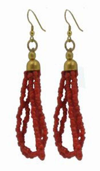Tibetan Naga Tribal Earrings (Red)