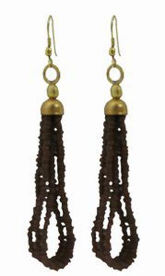 Tibetan Naga Tribal Earrings (Brown)