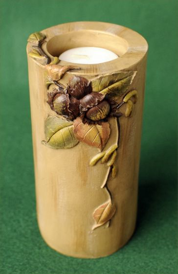 Autumn Leaf Candle Holder Pillar.