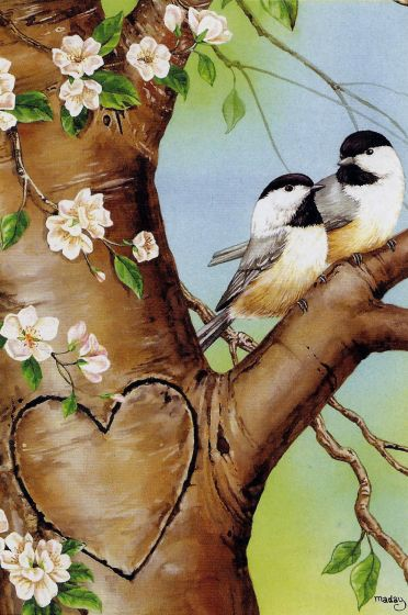 Chickadees In Love Large Flag