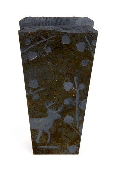 Deer & Aspen Leaves Etched Stone Vase