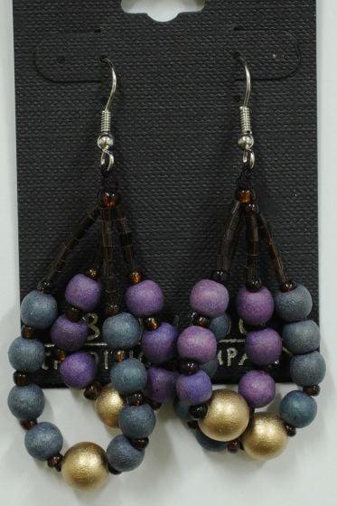 Purple & Blue Bead Earrings.