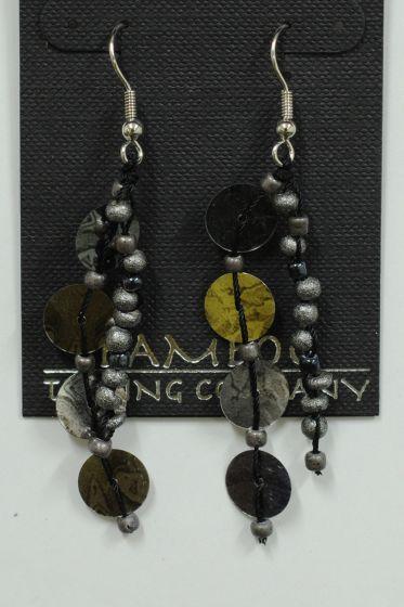 Silvery Sequin Earrings.