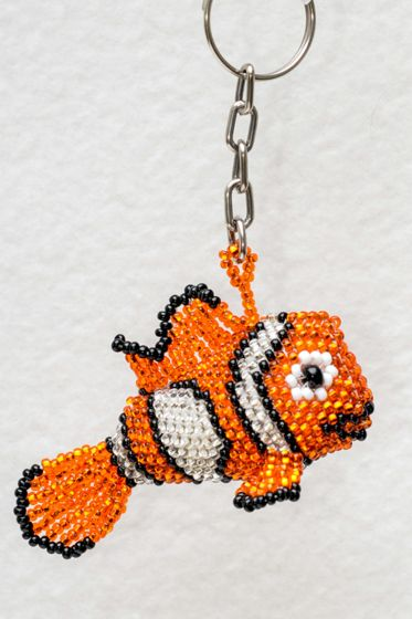 Clownfish Beaded Keychain