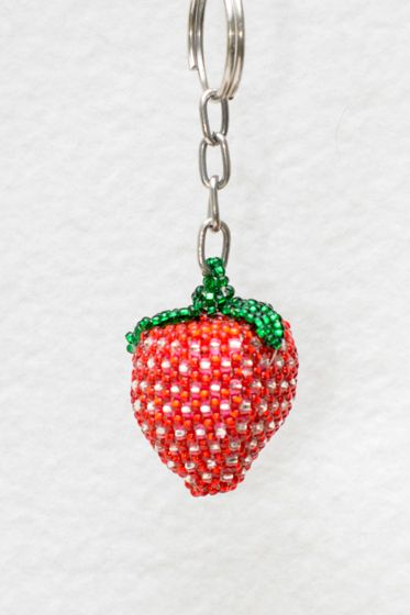 Strawberry Beaded Keychain