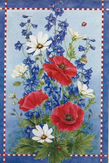 Patriotic Flowers Large Flag