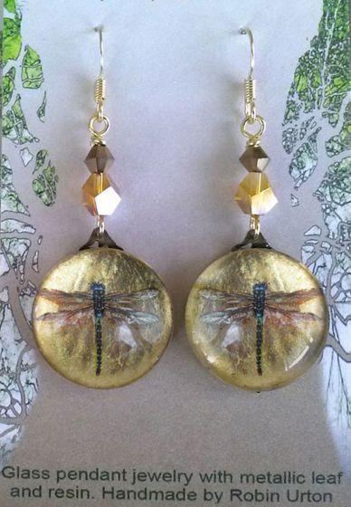 Dragonfly Glass Pendant Earrings