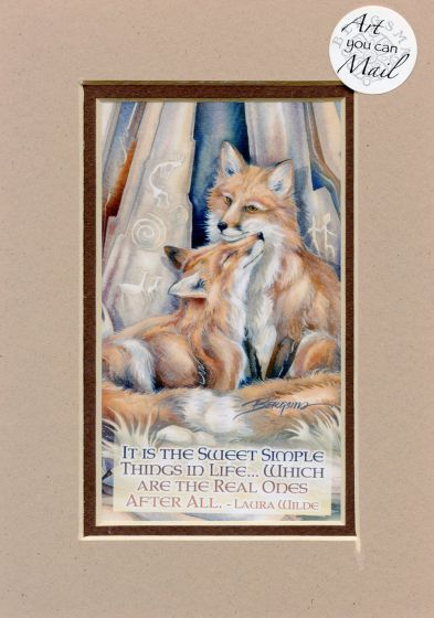 Foxes Mailable Art Card.
