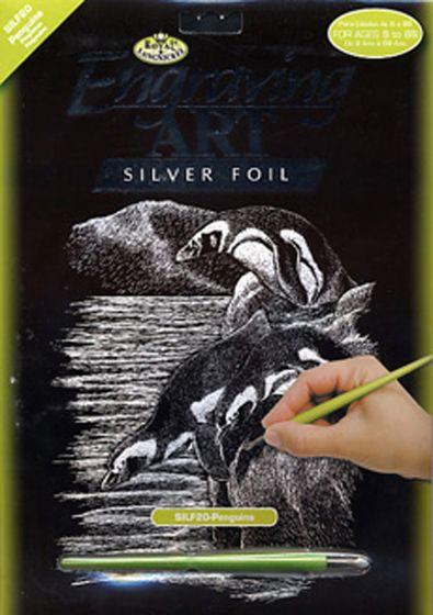 Penguins Engraving Kit (Silver Foil Background).