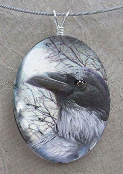 Raven Glass Pendant Necklace