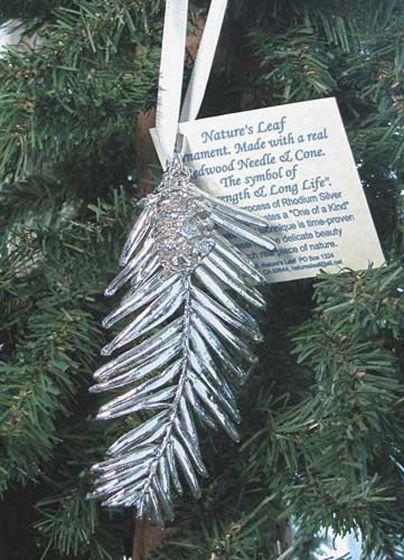 Redwood Needles & Cone Silver Ornament
