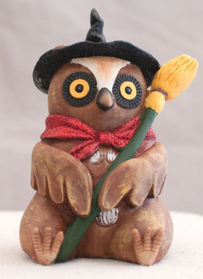 Halloween Owl Figurine (With Broom)