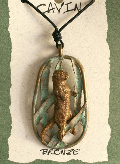 Otter In Kelp Bronze Pendant (Wildlife In Bronze)