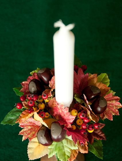 Silk Leaf And Berry Candle Ring