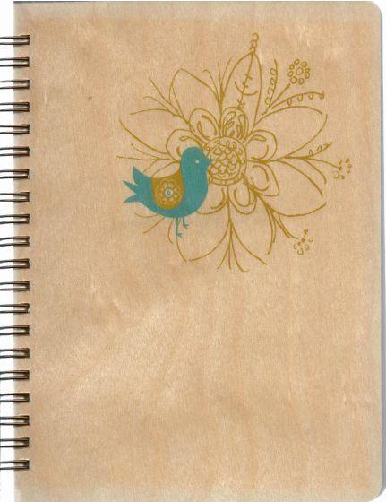 Blue Bird Wood-Cover Journal